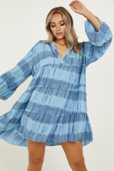 Blue Tie Dye Smock Dress